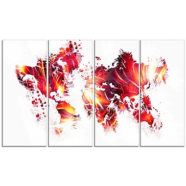 Designart Firey Red Map Canvas Art Print, (PT2723-271)