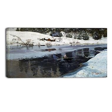 Designart – Imprimé sur toile, Paysage, Hiver à la rivière Simoa, Frits Thaulow (PT4407-32-16)