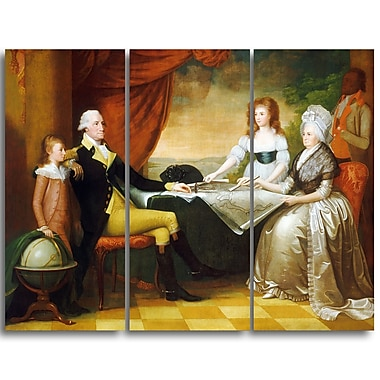 Designart Edward Rooker, The Washington Family Canvas Art Print, (PT4344-3P)