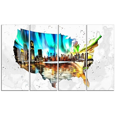 Designart City Life on the Map 4-Panel Canvas Art Print, (PT2832-271)