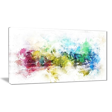 Designart Vivid Colours Cityscape Canvas Art Print, 40Wx20H Inches, (PT3302-40-20)