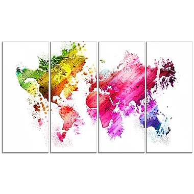 Designart Colours of the World Map Canvas Art Print, (PT2707-271)