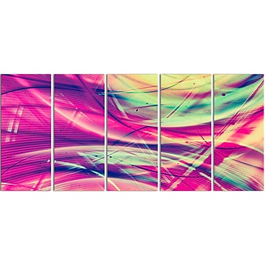 Designart Pink and Yellow Vintage Abstract 5-Panel Contemporary Canvas Art Print, (PT3063-401)