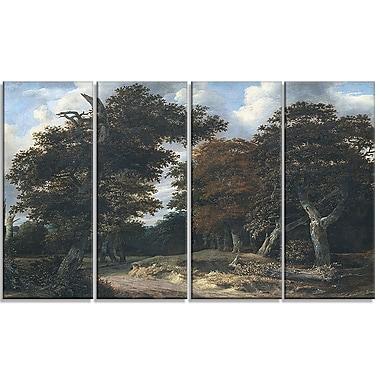 Designart Jacob Isaacksz, route dans une forêt de chênes, imprimé sur toile (PT4519-271)
