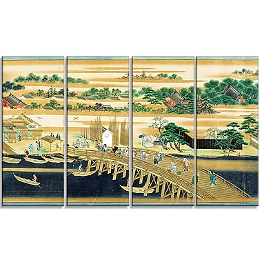 Designart Sumiyoshi, Famous Sites of the Sumida River Large Asian Canvas Art, (PT4929-271)