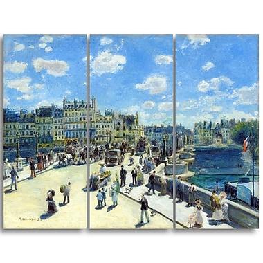 Designart – Auguste Renoir, Pont Neuf à Paris paysage de mer et de rivage, imprimé sur toile (PT4165-3P)