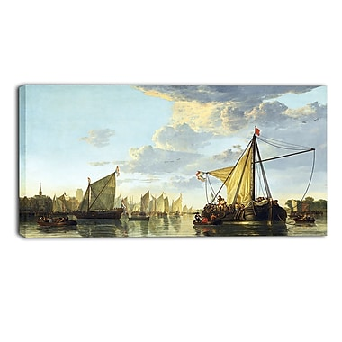 Designart Aelbert Cuyp, A View of the Maas at Dordrecht Canvas Art Print, (PT4107-40-20)