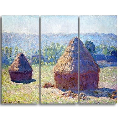 Designart Claude Monet, Haystacks End of Summer Landscape Canvas Arwork, (PT4263-3P)