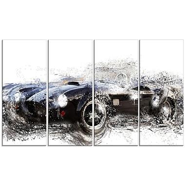 Designart – Toile étirée sur les bords, roadster convertible noir, 4 panneaux