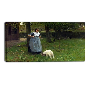 Designart Anton Mauve, Woman from Laren with Lamb Master Piece Landscape Artwork, (PT4149-32-16)