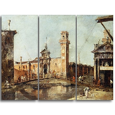Designart Francesco Guardi, The Entrance to the Arsenal in Venice Sea & Shore Canvas Artwork, (PT4384-3P)