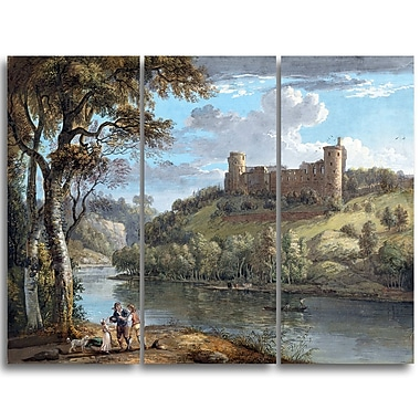 Designart Paul Sandby, Bothwell Castle from the South Sea & Shore Canvas Artwork, (PT4808-3P)