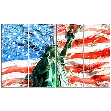 Designart Lady Liberty on US Flag Large Americana Canvas Art Print, (PT2805-271)
