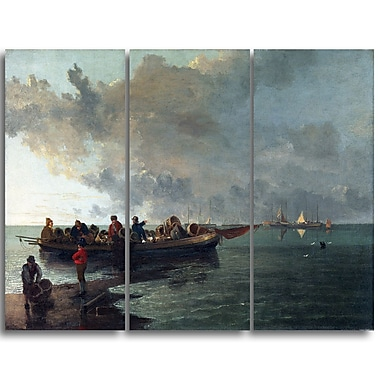 Designart John Crome, A Barge with a Wounded Soldier Canvas Art Print, (PT4637-3P)