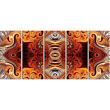 Designart Gold and Silver Reflection 5-Panel Modern Canvas Art Print, (PT3083-401)