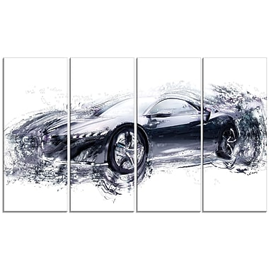 Designart Sleek Black Exotic Car, 4 Piece Gallery-Wrapped Canvas, (PT2627-271)