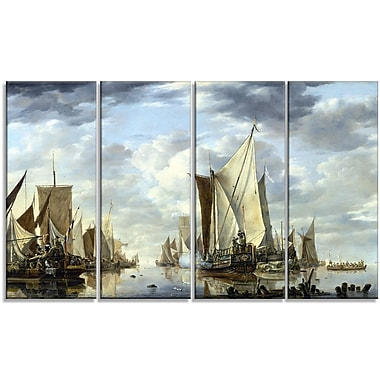 Designart Jan van de Cappelle, Shipping in a Calm at Flushing Canvas Art Print, (PT4555-271)