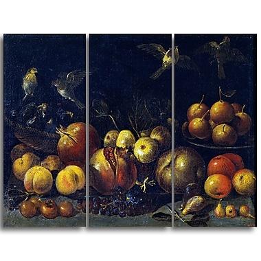 Designart Tommaso Realfonso, Still Life with Pomegranates Canvas Art Print, 3 Panels, (PT5028-3P)