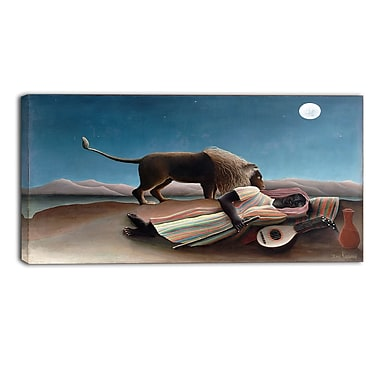 Designart Henri Rousseau, The Sleeping Gypsy Lansdcape Canvas Artwork, (PT4494-32-16)