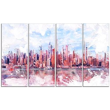 Designart Pink Bay Cityscape Large Canvas Art Print, (PT3321-271)