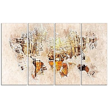 Designart Netral Colours Map Canvas Art Print, (PT2734-271)