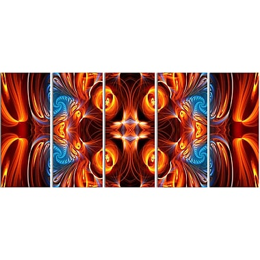 Designart Orange and Blue Mirrored Art 5-Panel Modern Canvas Art Print, (PT3075-401)