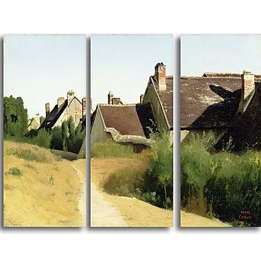 Designart – Tableau paysage imprimé sur toile, Maison aux environs d'Orléans de Camille Corot (PT4185-3P)