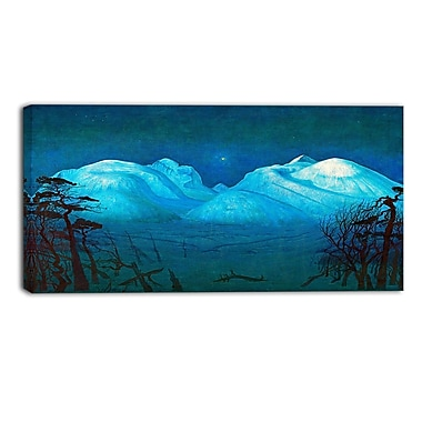 Designart Harald Sohlberg, Winter Night in the Mountains Lansdcape Canvas Artwork, (PT4482-32-16)