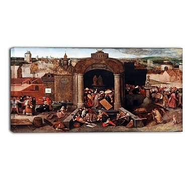 Designart Pieter Bruegel, Christ Driving the Traders Canvas Art Print, (PT4858-32-16)