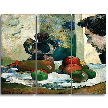 Designart Paul Gauguin, Profile of Laval Canvas Art Print, 3 Panels, (PT4411-3P)