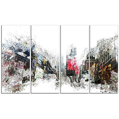 Designart City Never Sleeps 4-Panel Cityscape Canvas Art Print, (PT3309-271)