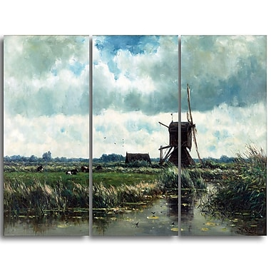 Designart Willem Roelofs, Polder Landscape with Windmill Canvas Art Print, (PT4998-3P)