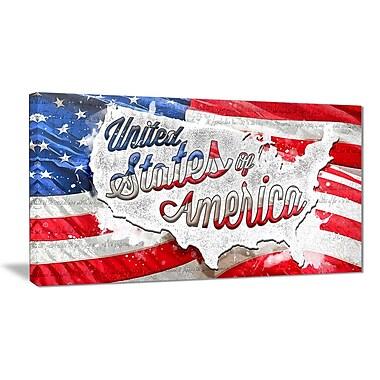 Designart – Imprimé sur toile, drapeau américain abstrait (PT2824-32-16)