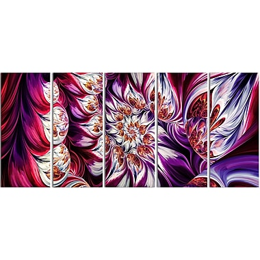 Designart Lavender Floral Pyramid 5-Panel Abstract Canvas Art Print, (PT3095-401)