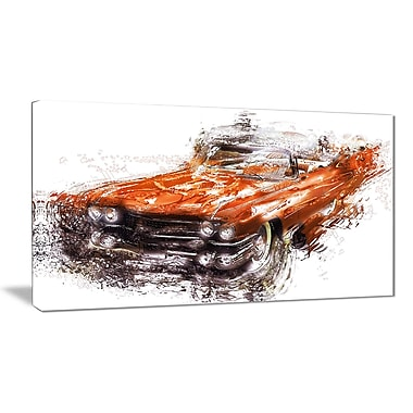 Designart Burnt Orange Classic Car Canvas Art Print, (PT2652-32-16)