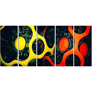 Designart Orange and Yellow Geo Art Contemporary Canvas Art, (PT3059-401)