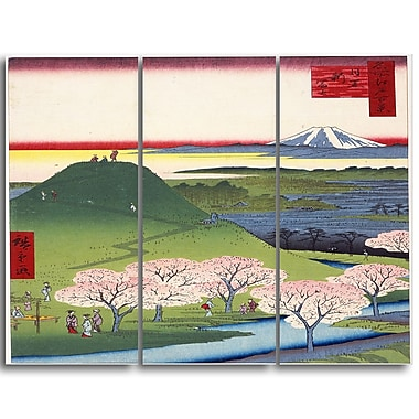 Designart Utagawa Hiroshige, Horikiri Iris Garden Asia Canvas Artwork, (PT4984-3P)