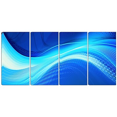 Designart Blue Hues 4-Panel Abstract Canvas Art Print, (PT3028-271)