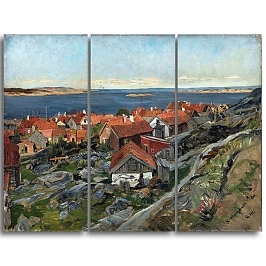 Designart – Gerhard Munthe, View of Nevlunghavn imprimée sur toile panoramique (PT4442-3P)