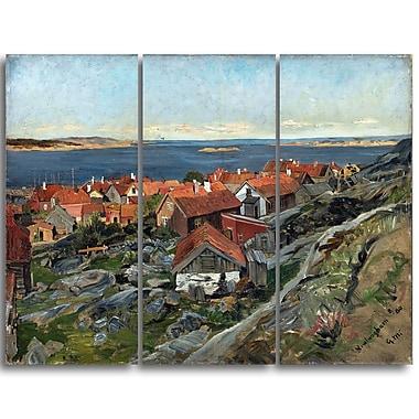 Designart Gerhard Munthe, View of Nevlunghavn Landscape Wall Art, (PT4442-3P)