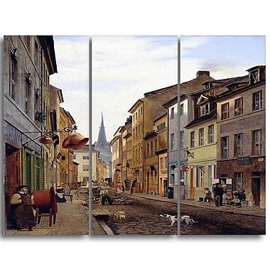 Designart Eduard Gaertner, ParocialstraBe Canvas Art Print, 3 Panels, (PT4322-3P)