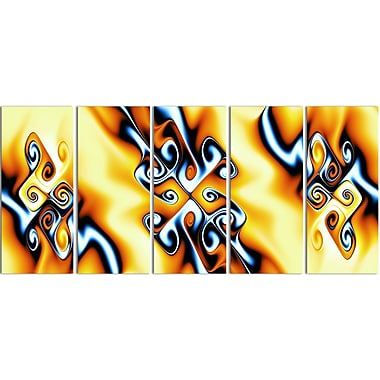 Designart Yellow Squiggles 5-Panel Abstract Canvas Art Print, (PT3087-401)