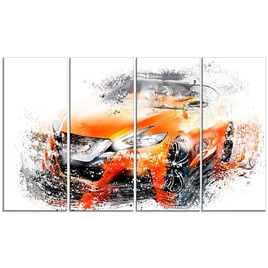 Designart Orange Rally Car, 4 Piece Gallery-Wrapped Canvas, (PT2635-271)