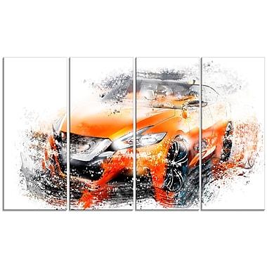 Design Art – Toile étirée sur les bords, voiture de rallye orange, 4 panneaux