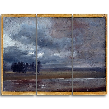 Designart JC Dahl, The Elbe in Rain Canvas Art Print, (PT4566-3P)
