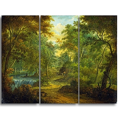 Designart Thomas Smith of Derby, Wooded Landscape with Stream Canvas Art Print, (PT4971-3P)