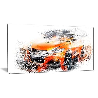 Designart Orange Rally Car Canvas, (PT2635-32-16)