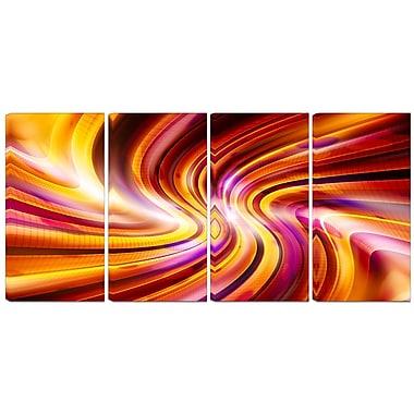 Designart – Imprimé sur toile, contemporain abstrait, Arc-en-ciel chaud, 4 panneaux (PT3051-271)
