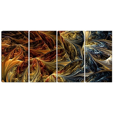 Designart Molten Gold 4-Panel Abstract Canvas Art Print, (PT3022-271)