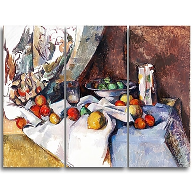 Designart Paul Cezanne, Nature Morte Canvas Art Print, 3 Panels, (PT4780-3P)